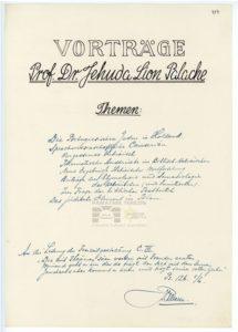 List of the lectures by prof. dr. Jehuda Lion Palache. PT 4119, Památník Terezín, Heřmanova sbírka, © Zuzana Dvořáková