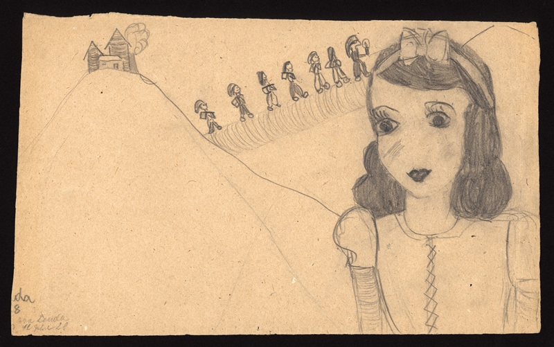 Picture of Cinderella drawn by Eva in the Terezin Ghetto, Jewish Museum in Prague, © Evelina Merová