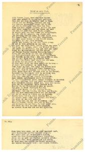 Dopis mému synovi, jedna z nejznámějších básní Ilse Weber, Památník Terezín, tzv. Heřmanova sbírka, PT 4109, © Zuzana Dvořáková.