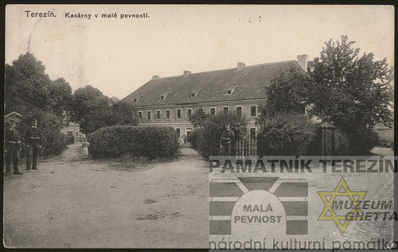 Period postcard from Theresienstadt 1916, barracks in the Small Fortress, FAPT  12004