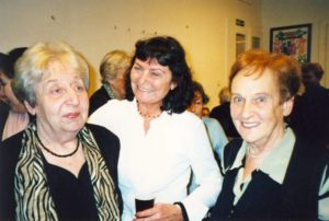 Friends congratulate to Helga Weiss-Hoskova on her birthday, 2004, in the photo: Helga Weiss-Hoskova, Ludmila Chladkova (former Head of TM Education Department, Doris Grozdanovicova).