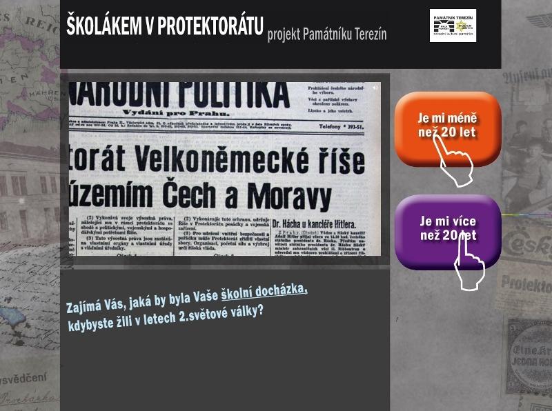 Webová stránka projektu Školákem v Protektorátu Čechy a Morava