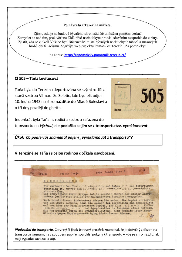 New Worksheets offered by the Terezín Memorial´s Department of ...