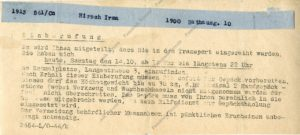 A strip of paper – calling to the transport for Irma Hirsch, October 1944, A 3667