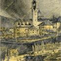 Theodor Lindner, 1916. Hořící kostel vAsiagu, které rakousko-uherské jednotky obsadily 31. 5. 1916, PT 4902.