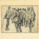 Theodor Lindner, 1916. Italští vojáci zajatí dne 25. 5. 1916 při bojích o vrchol Monte Meatta. Vlevo rakousko-uherský strážný, PT 4918.