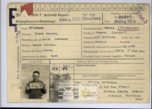 Personalkarte – personal card of the prisoner of war Denis McMahon; SOURCE: NAA: B883, VX41156; MCMAHON DENIS MICHAEL