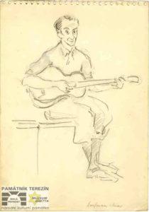 Charlotta Burešová: Skicář s kresbami - Portrét Otty Kaufmanna Karase, 1942-1945, Památník Terezín, PT 5549, © MUDr. Radim Bureš.