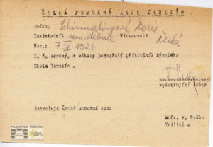 Doris Schimmerling´s registration card in the files of the Czech Help Action; she received the card after her liberation in the Terezín Ghetto in 1945, 1945, APT A 12735/Kartotéka.