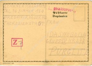 Postal card from the Terezín Ghetto from Margarete Zemanek to Ida Svobodová, dated 24. 5. 1942, with the sign of the sensor, 1. page, APT A 7859/K43/Gh.