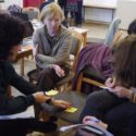 Working groups during workshop, the attic theatre of the Magdeburg Barracks, photo: Linda Norris
