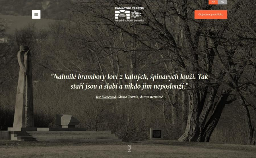 Homepage of the Terezín Memorial´s new website.