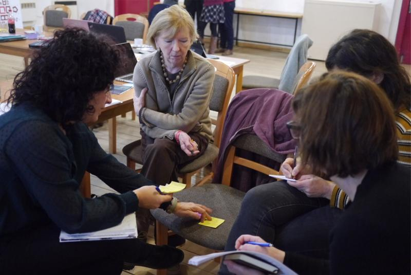 Working groups during workshop, the attic theatre of the Magdeburg Barracks, photo: Linda Norris.