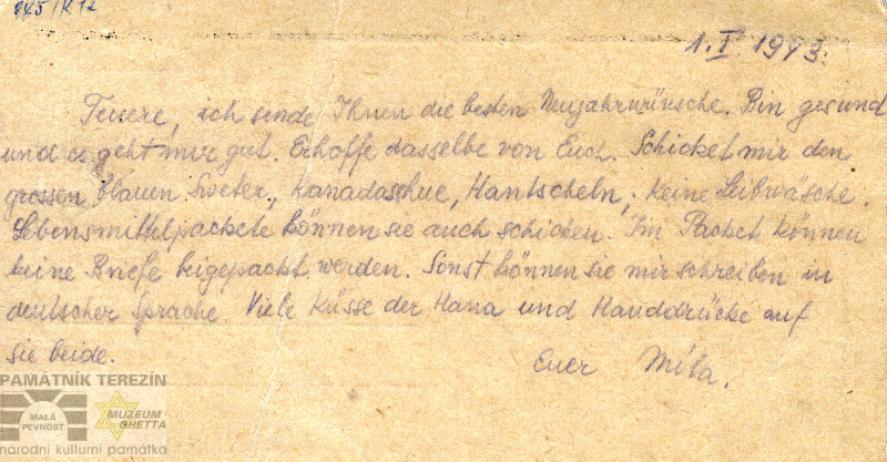PT, A 492/1, postcard of Miloš Nedvěd to Václav Pohan from 1. 1. 1943.