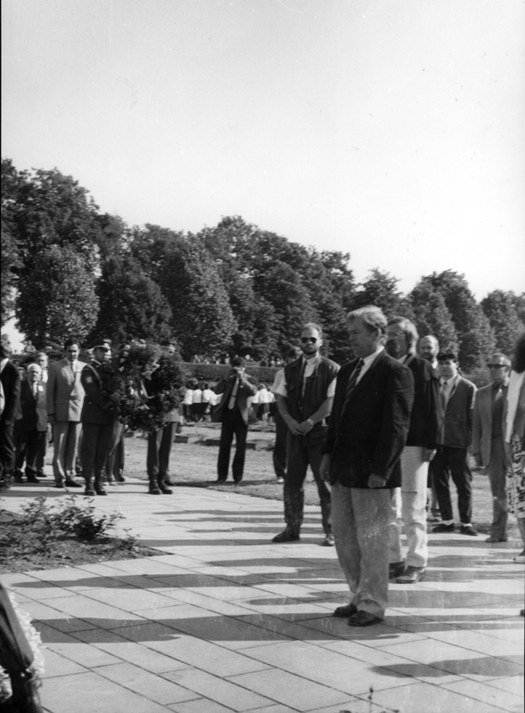 Václav Havel during a commemorative rally in Terezín on May 20, 1990