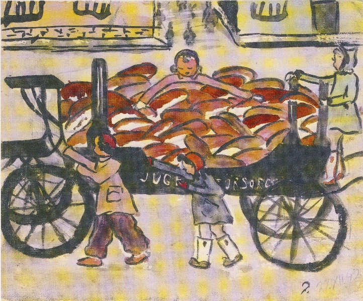 Helga Hošková-Weissová, Chleba na pohřebním voze (Bread on the Hearses), in: Zeichne, was Du siest, Wallstein Verlag 1998