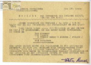 Zpráva o příjezdu transportu XXIV/1 z Holandska do terezínského ghetta v dubnu 1943. PT 11017.