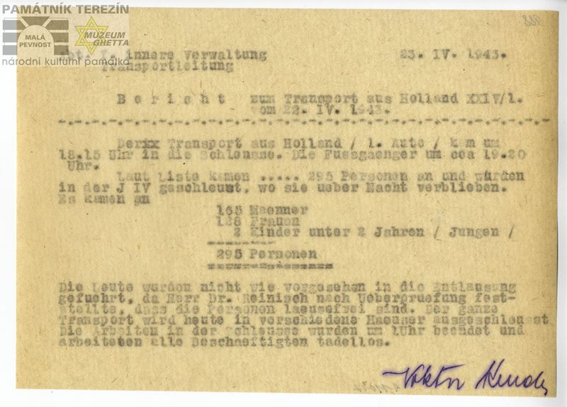 Report on the arrival of the transport XXIV/1 from Holland to the ghetto Terezin in April 1943. PT 11017.
