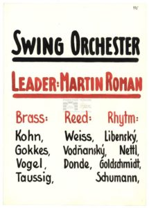 Flyer announcing the existence of the Swing orchestra in the ghetto with Martin Roman as a leader. PT 3979, Památník Terezín, Heřmanova sbírka, © Zuzana Dvořáková