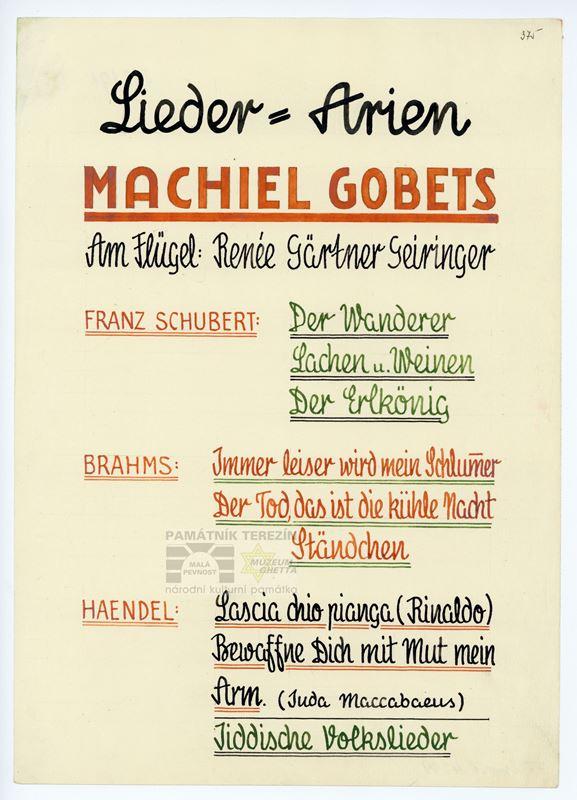 Plakátek k vystoupení Machiela Gobetse v ghettu. (Před válkou byl vynikajícím pěvcem, působil např. v královské opeře v Nizozemsku.) PT 4219, Památník Terezín, Heřmanova sbírka, © Zuzana Dvořáková