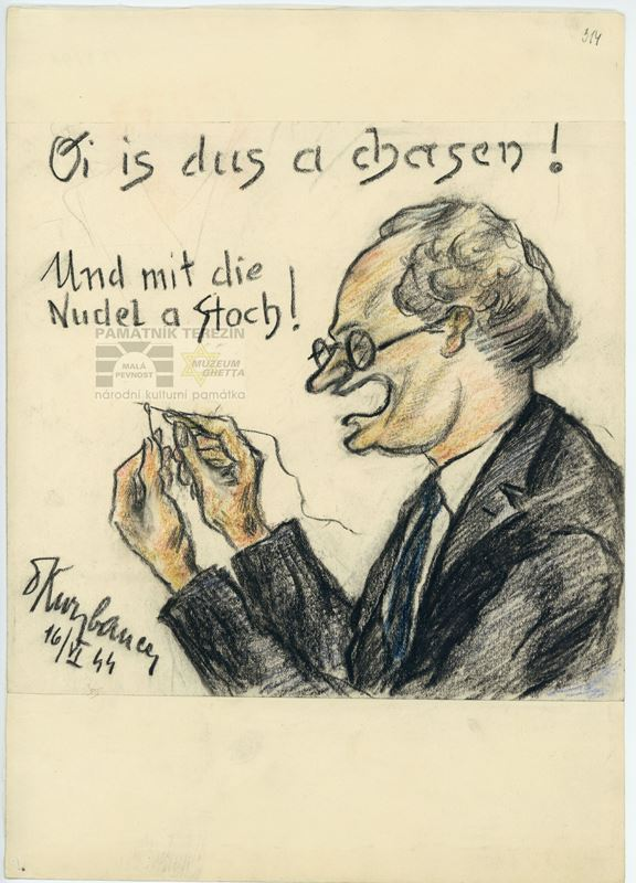 Karikatura Machiela Gobetse. PT 4180, Památník Terezín, Heřmanova sbírka, © Zuzana Dvořáková