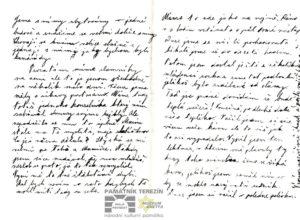 A copy of the first letter of Jindřich Jetel to his wife that was sent from Terezín, part 1. Private archive of Ludmila Chládková.